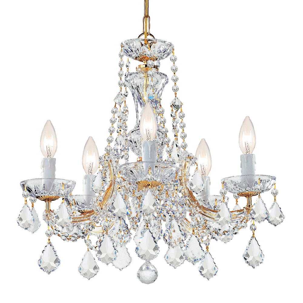 Maria Theresa 5 Light Clear Crystal Gold Mini Chandelier Within Trendy Thresa 5 Light Shaded Chandeliers (View 2 of 20)
