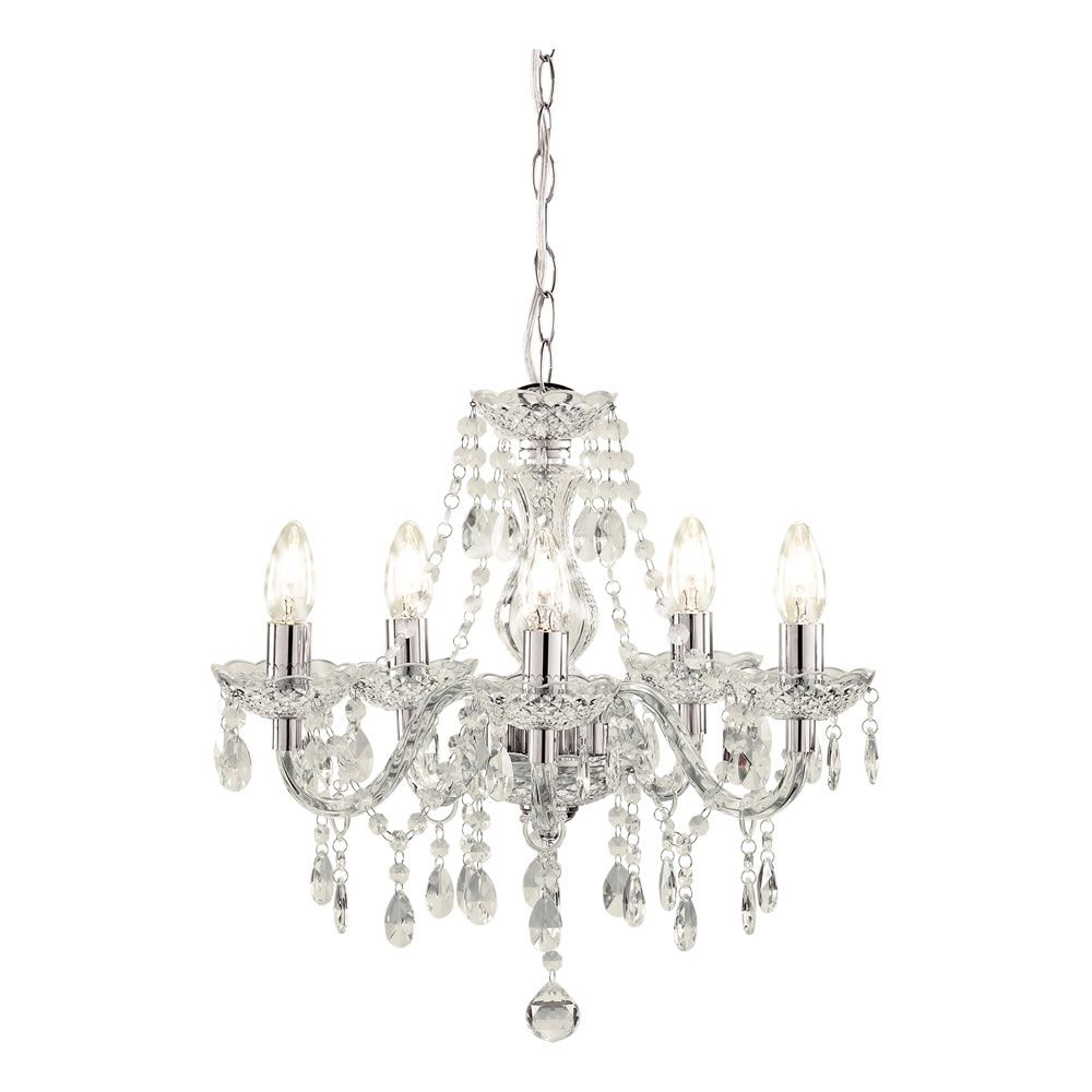 Marie Therese 5 Arm Clear Chandelier Ceiling Light Throughout Recent Thresa 5 Light Shaded Chandeliers (Gallery 8 of 20)