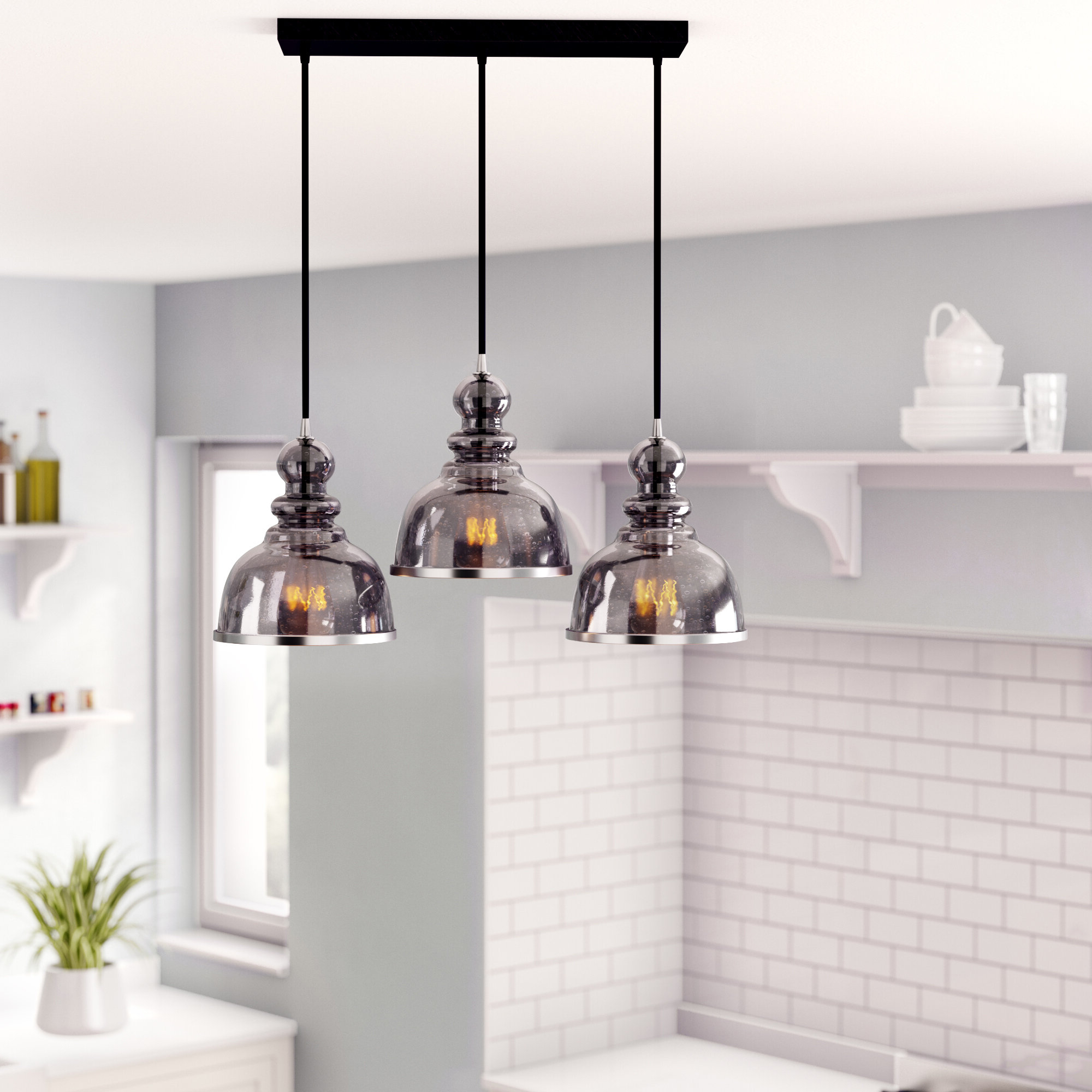 Martinique 3 Light Kitchen Island Dome Pendants With Most Recently Released Kaci 3 Light Kitchen Island Pendant (View 14 of 20)