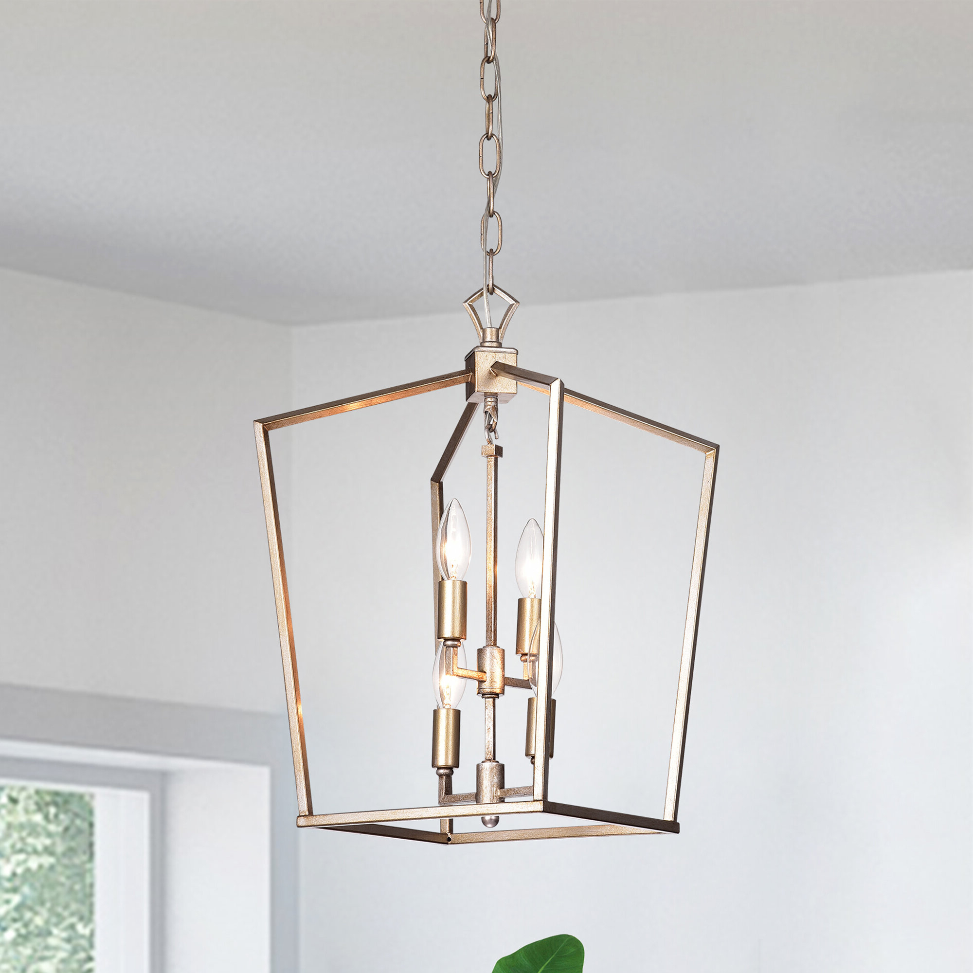 Massasoit Metal 4 Light Square Chandelier Regarding Newest Tiana 4 Light Geometric Chandeliers (View 10 of 20)