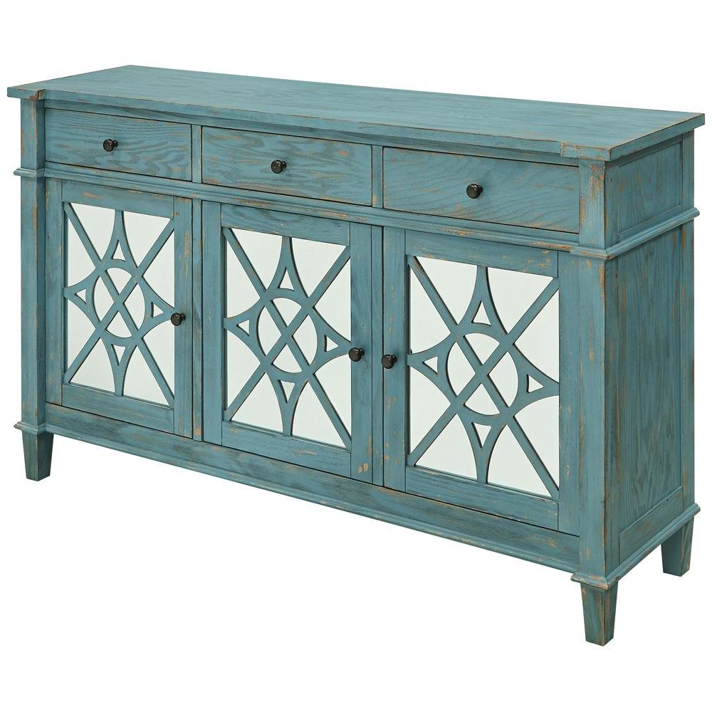 Mauldin 3 Door Sideboards Regarding Newest Kyla Blue Skies Rub Wood 3 Drawer 3 Door Media Credenza (Gallery 13 of 20)