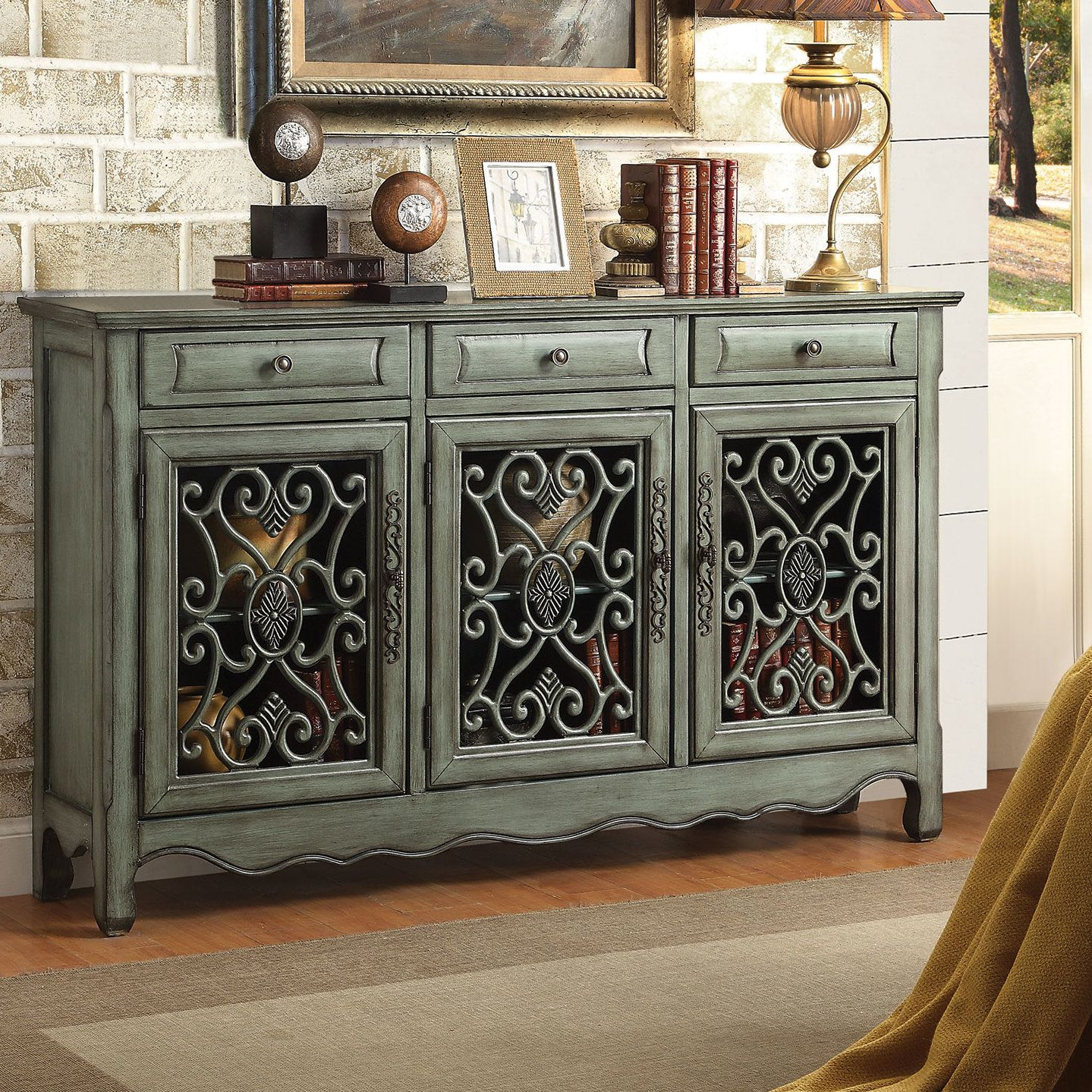 Mauzy Sideboards For Well Known Helvic 3 Drawer 3 Door Accent Cabinet (View 11 of 20)