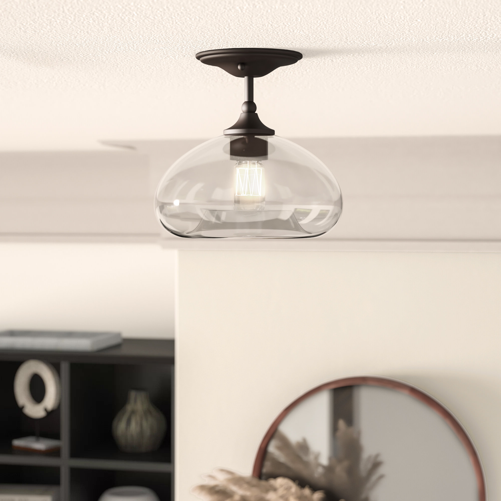 Mayfield 1 Light Semi Flush Mount Pertaining To Most Up To Date Yarger 1 Light Single Bell Pendants (Gallery 7 of 20)