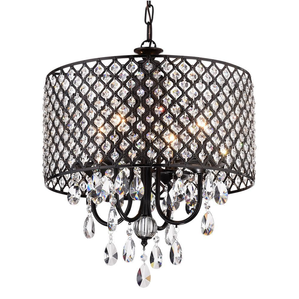 Mckamey 4 Light Crystal Chandeliers In Most Current Edvivi Marya 4 Light Antique Black Round Chandelier With (Gallery 13 of 20)