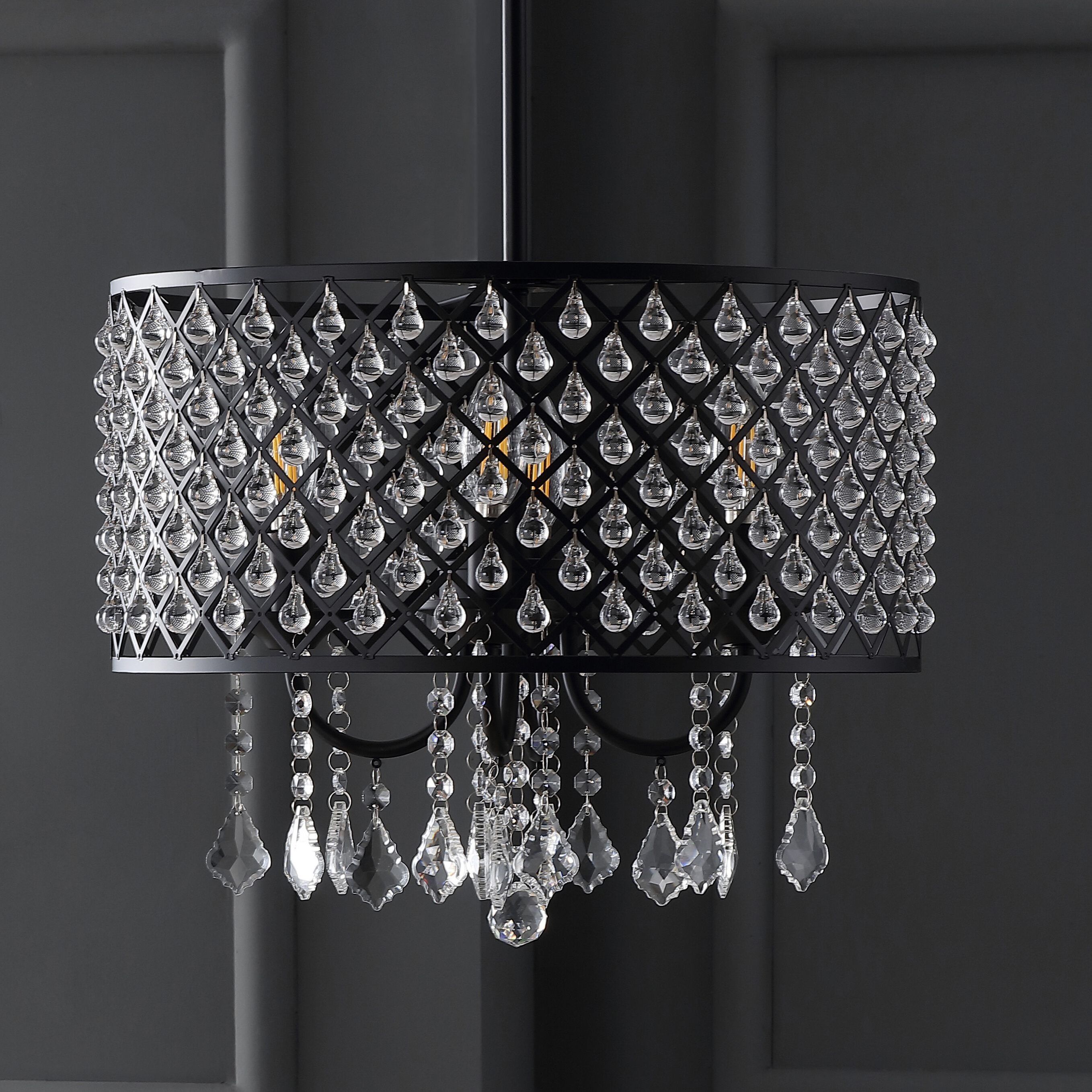 Mckamey 4 Light Crystal Chandeliers Throughout Most Up To Date Collado 4 Light Drum Chandelier (View 17 of 20)