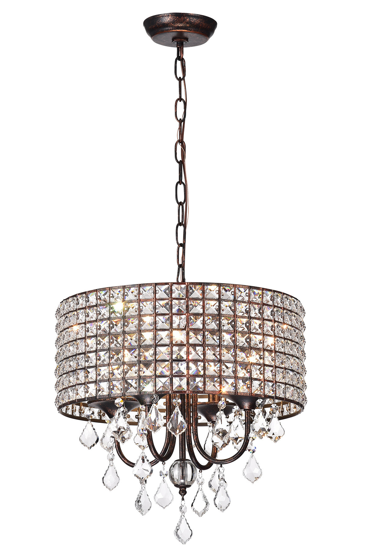 Mckamey 4 Light Crystal Chandeliers With 2019 Lavada 4 Light Drum Chandelier (View 13 of 20)