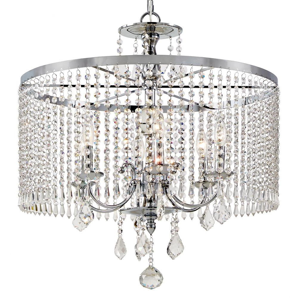 Mcknight 9 Light Chandeliers Regarding Most Current Home Decorators Collection 6 Light Polished Chrome (View 8 of 20)