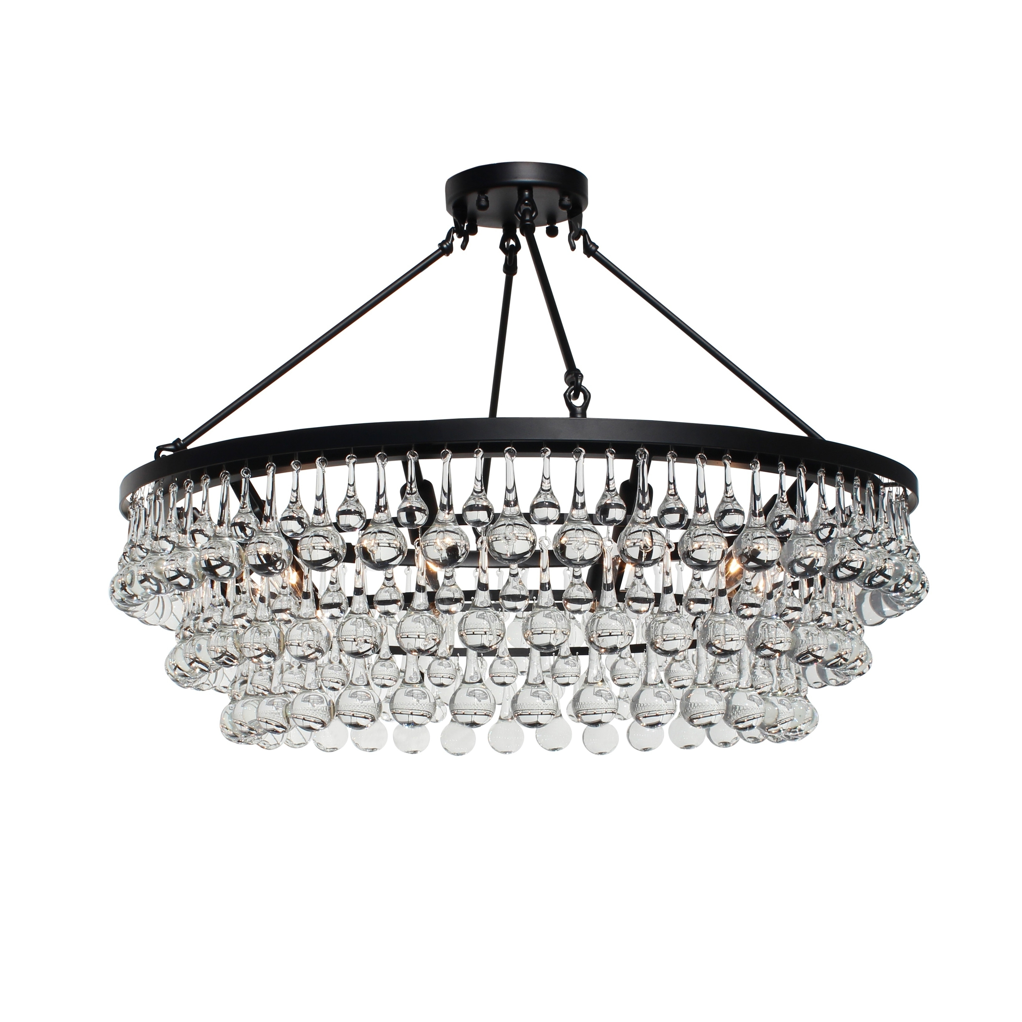 Mcknight 9 Light Chandeliers With Newest Celeste Glass Flush Mount Crystal Chandelier, Black – N/a (View 9 of 20)