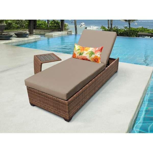 Medina Reclining Chaise Lounge With Cushion And Table Cheap Regarding Famous Meeks Patio Sofas With Cushions (Gallery 20 of 20)