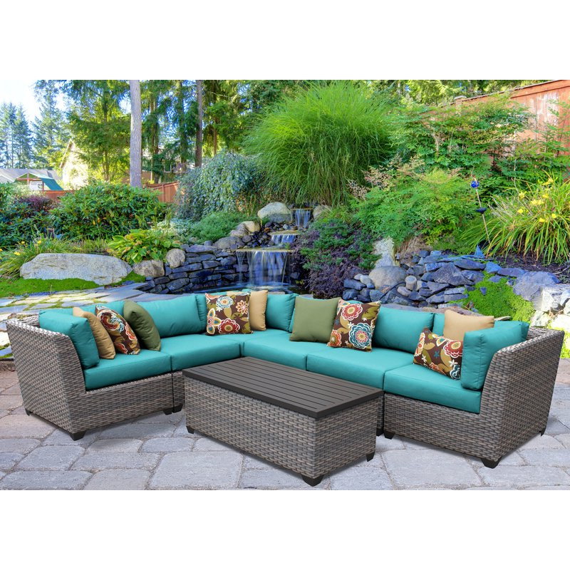 Meeks 7 Piece Rattan Sectional Seating Group With Cushions Inside Best And Newest Meeks Patio Sofas With Cushions (View 5 of 20)