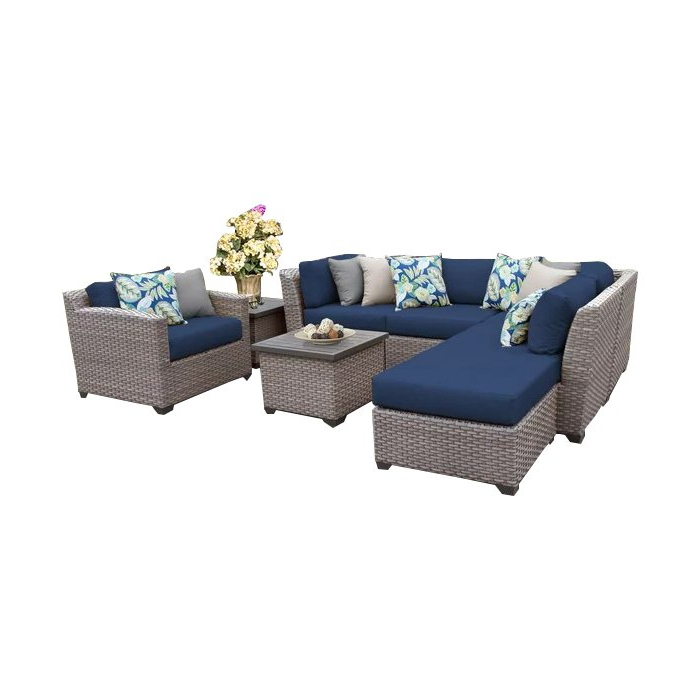 Meeks 8 Piece Rattan Sectional Seating Group With Cushions In 2019 Meeks Patio Sofas With Cushions (View 6 of 20)