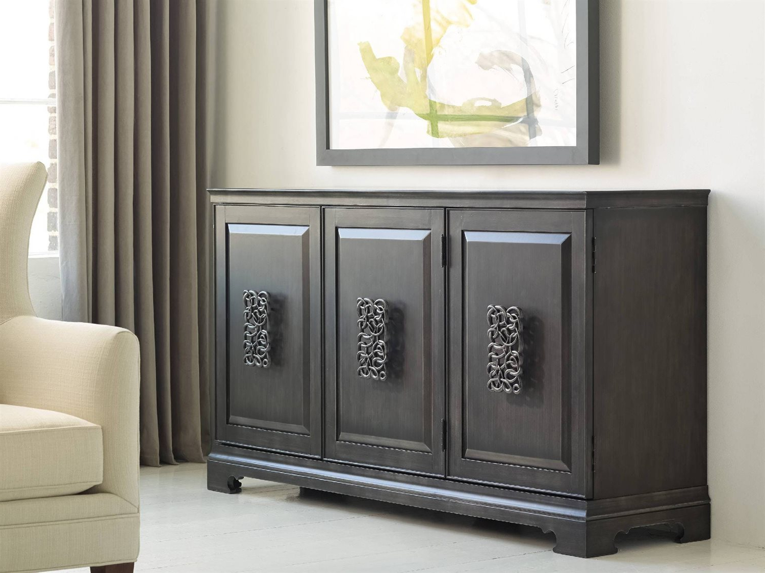 Melange Brockton Sideboards Regarding Most Popular Hooker Furniture Melange Charcoal Gray 64''l X 18''w Rectangular Brockton  Credenza Buffet (View 8 of 20)