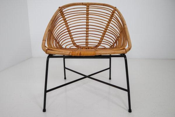 Mid Century Rattan, Wicker & Iron Patio Chair, 1960S Regarding Favorite Rowley Patio Sofas Set With Cushions (View 11 of 20)