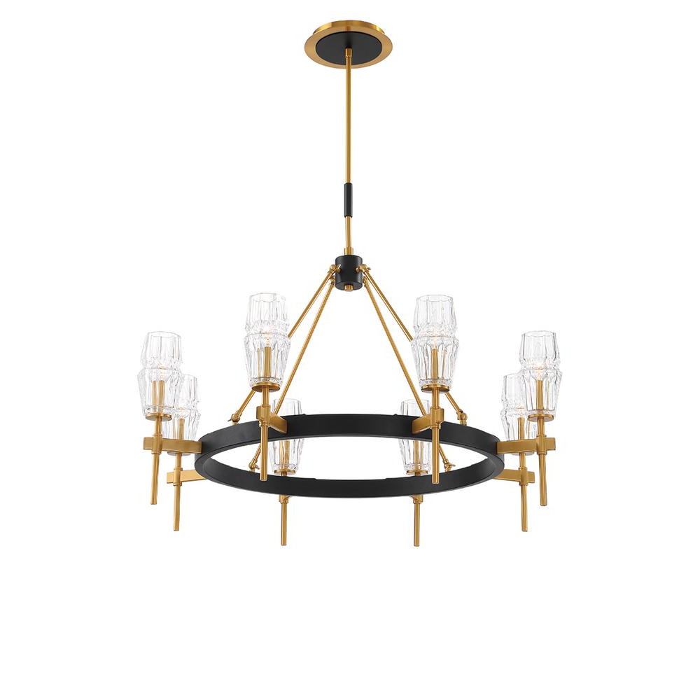 Millbrook 5 Light Shaded Chandeliers Regarding 2019 Eurofase Gladstone 8 Light Antique Brass/black Chandelier With Glass Shade (View 14 of 20)