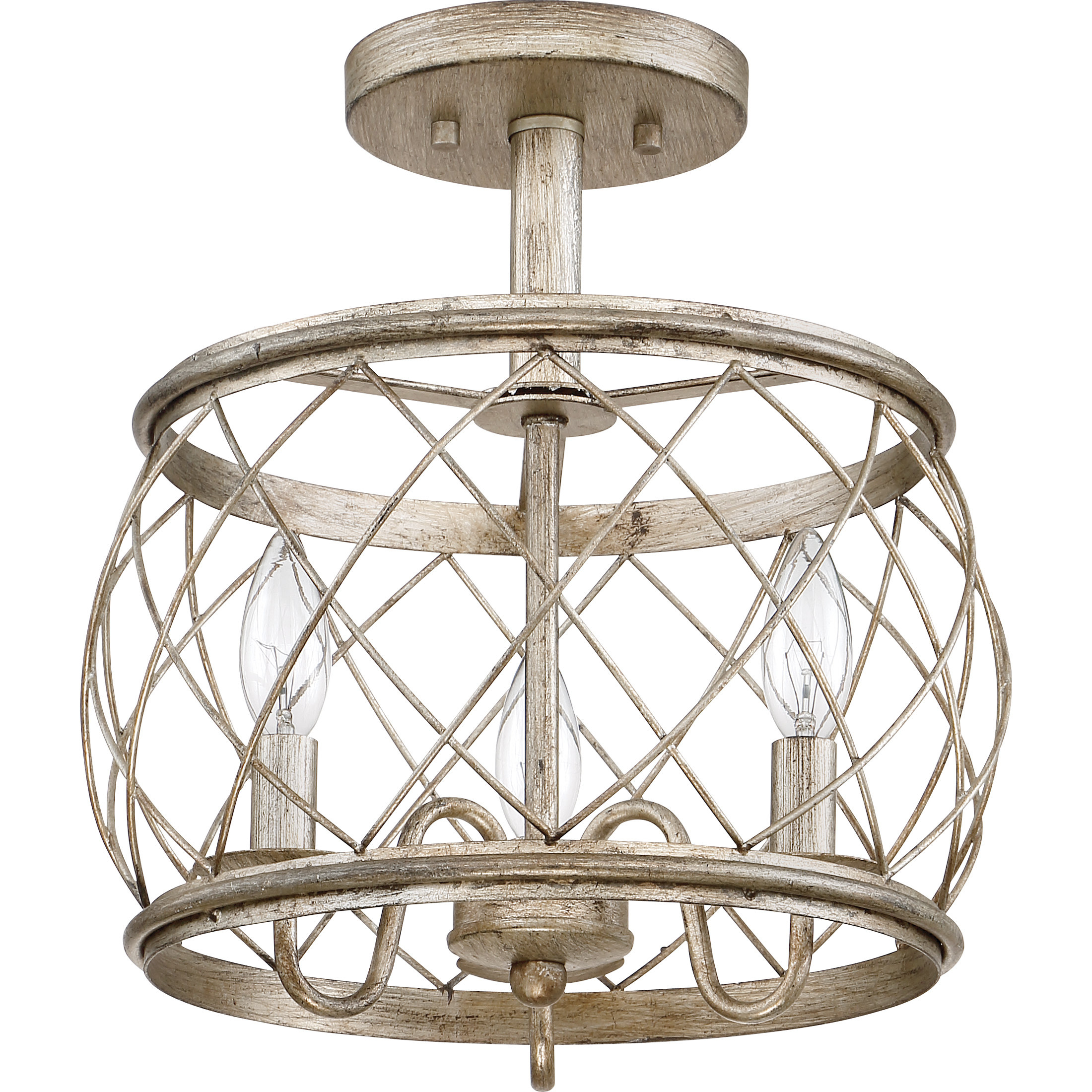 Mina Cottage 3 Light Semi Flush Mount Inside 2019 Emaria 3 Light Single Drum Pendants (View 11 of 20)