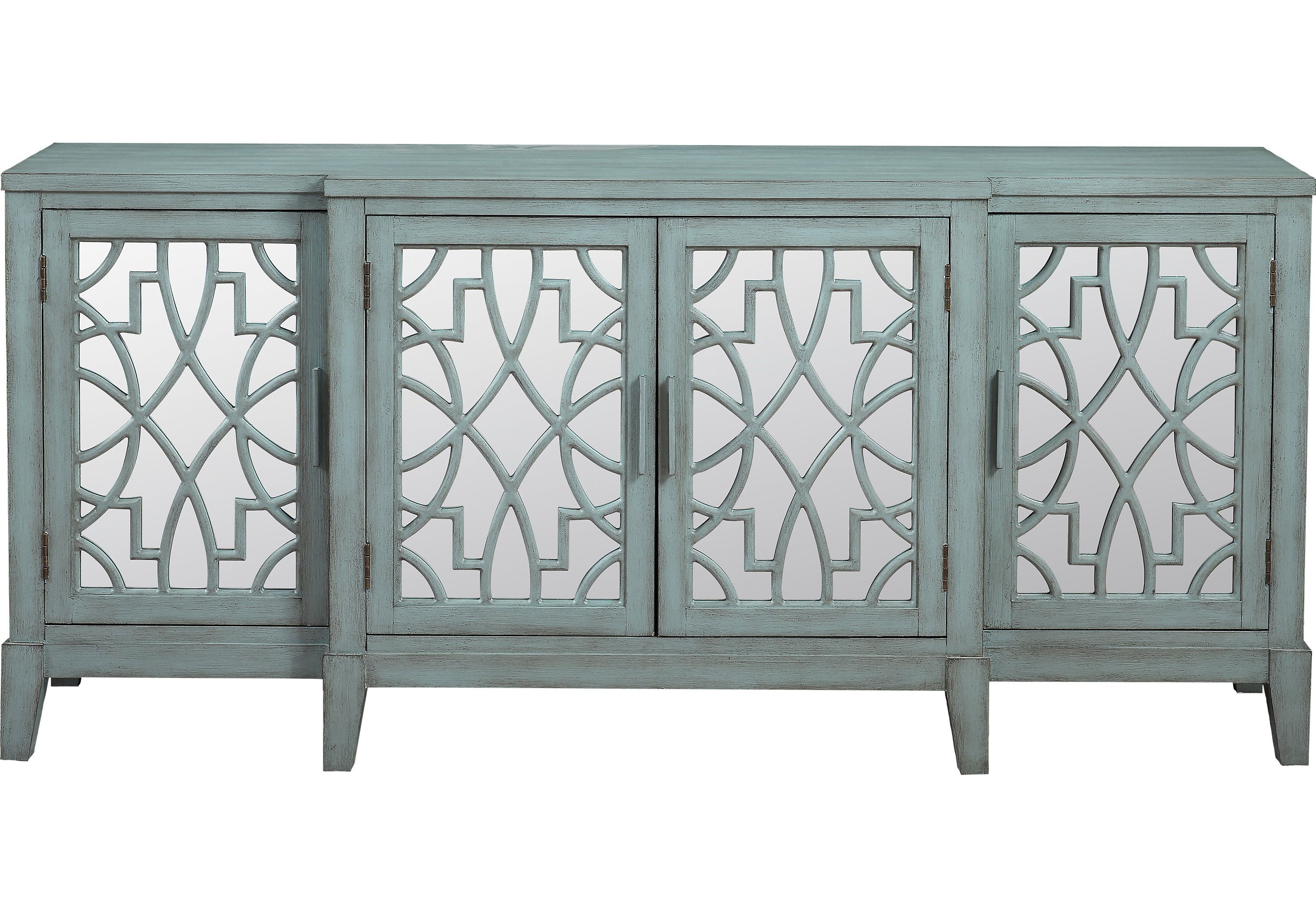 Minetta Teal 72 In. Credenza – Accent Cabinets Colors (Gallery 17 of 20)