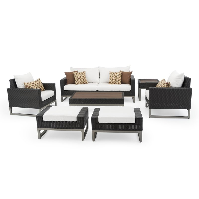 Minor 7 Piece Rattan Sunbrella Sofa Set With Cushions In Current Kunz Loveseats With Cushions (View 15 of 20)