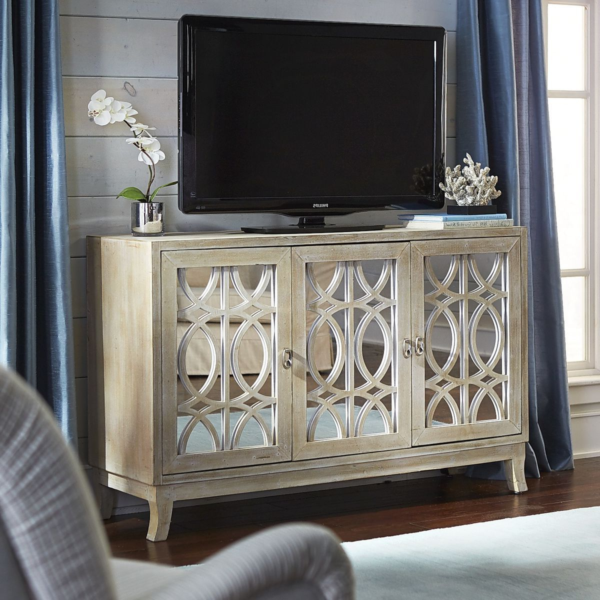 "Mirella Mirrored Natural 54"" Tv Stand (Gallery 16 of 20)"
