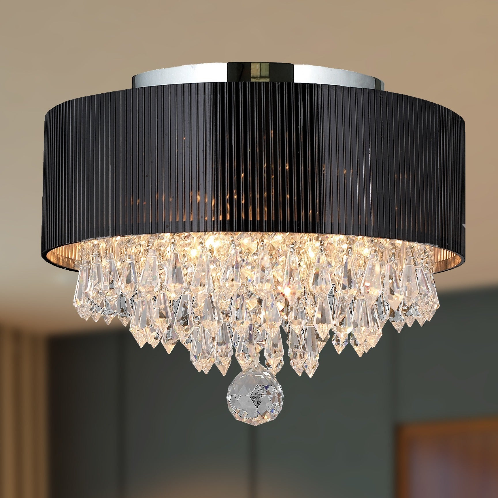 Modern Elegance 3 Light Chrome Finish And Full Lead Crystal With Black Drum Shade Small Flush Mount Ceiling Light Within Widely Used Clea 3 Light Crystal Chandeliers (View 17 of 20)