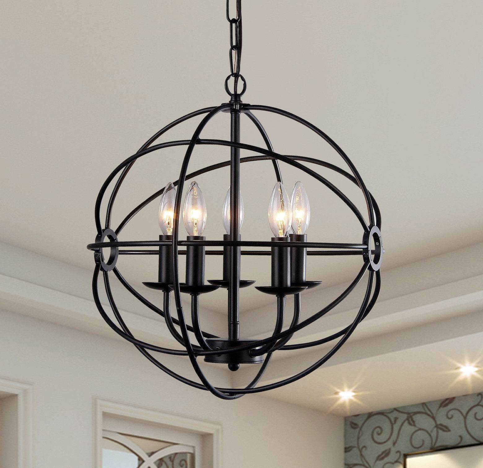 Modern Farm House Design Inside Verlene Foyer 5 Light Globe Chandeliers (View 10 of 20)