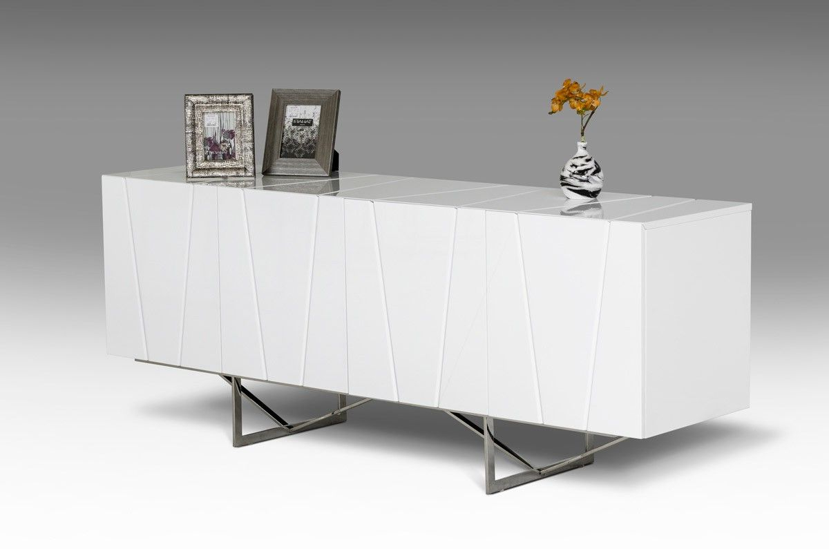 Modrest Chrysler Modern White High Gloss Buffet – Dining Inside Well Known Malcom Buffet Table (View 13 of 20)