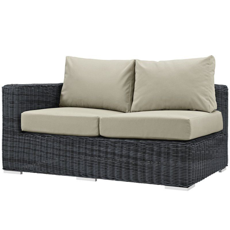 Modway Summon Wicker Outdoor Sectional Right Arm Loveseat Within Favorite Huddleson Loveseats With Cushion (Gallery 15 of 20)