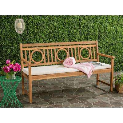 Montclair Outdoor 3 Seat Acacia Patio Bench With Beige Cushions In Popular Brentwood Patio Sofas With Cushions (View 7 of 20)