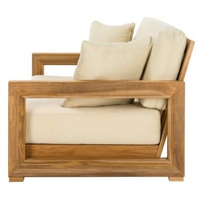 Montford Teak 2 Seat Bench Teak – Safavieh, Brown In 2019 Pertaining To Widely Used Montford Teak Patio Sofas With Cushions (View 9 of 20)