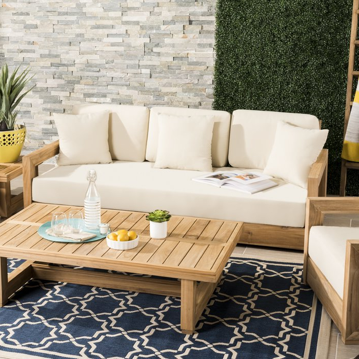 Featured Photo of Montford Teak Patio Sofas With Cushions