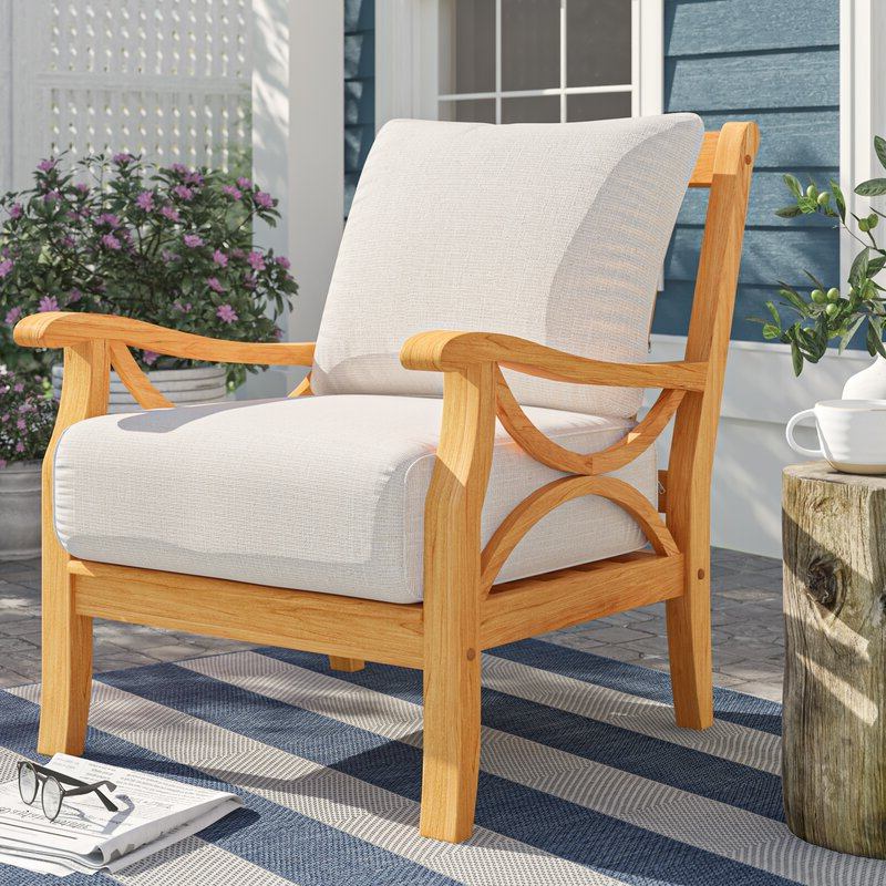 Montford Teak Patio Sofas With Cushions Intended For 2020 Brunswick Teak Patio Chair With Cushions (View 12 of 20)