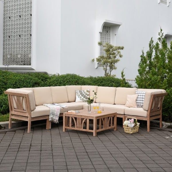 Montford Teak Patio Sofas With Cushions Intended For Current Shop Havenside Home Delray 8 Piece Teak Patio Sectional (Gallery 18 of 20)