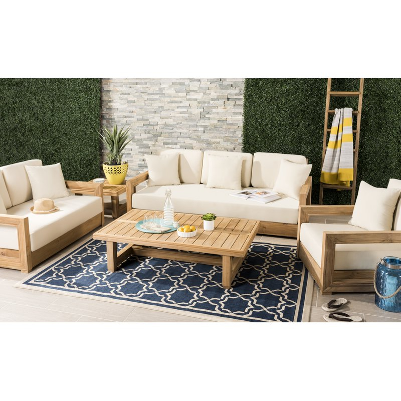 Montford Teak Patio Sofas With Cushions Pertaining To 2020 Montford Teak Patio Sofa With Cushions (View 2 of 20)