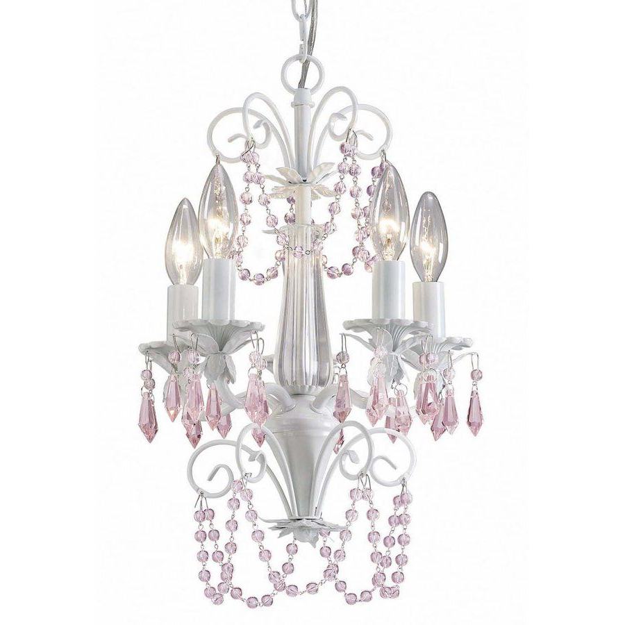 Most Current Aldora 4 Light Candle Style Chandeliers Inside Canarm Danica 12 In 5 Light White Crystal Candle Chandelier (View 17 of 20)