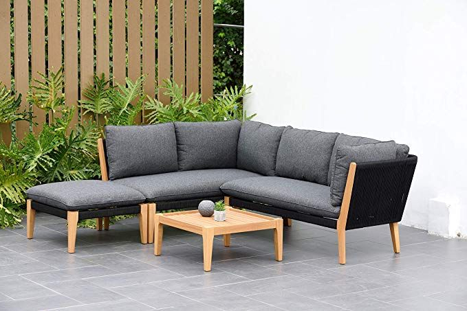Most Current Amazon: Amazonia Kentucky 5 Piece Patio Sectional Set Inside Clary Teak Lounge Patio Daybeds With Cushion (View 15 of 20)
