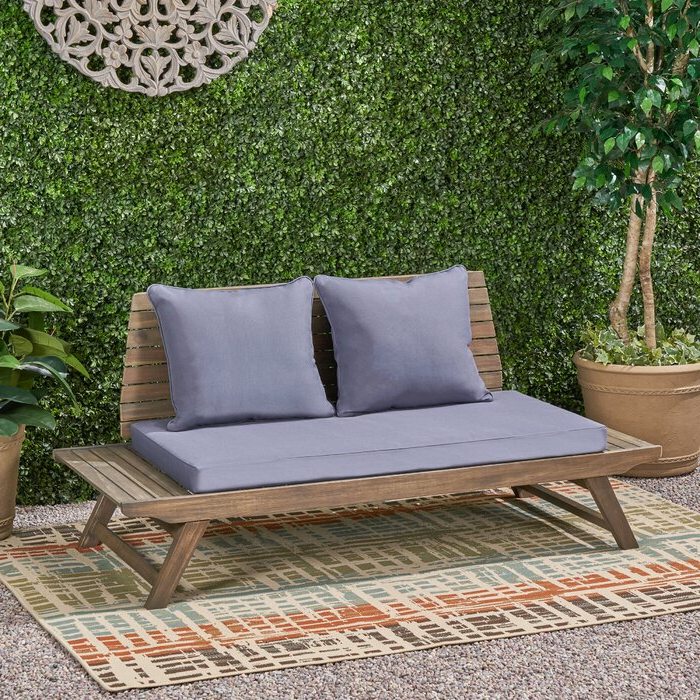 Most Current Bullock Outdoor Wooden Loveseats With Cushions Throughout Bullock Outdoor Wooden Loveseat With Cushions (View 14 of 20)