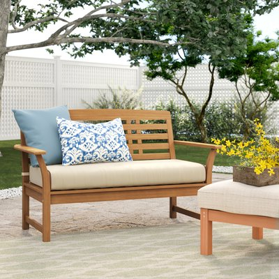Most Current Calila Teak Loveseat With Cushion With Regard To Mansfield Teak Loveseats With Cushion (View 14 of 20)