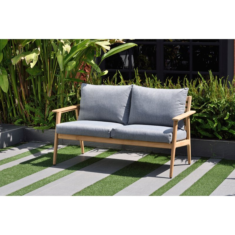 Most Current Darrah Deep Seating Teak Patio Sofa With Cushions For Newbury Patio Sofas With Cushions (View 7 of 20)