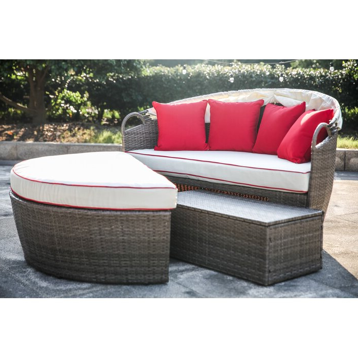 Most Current Ellanti Teak Patio Daybeds With Cushions Intended For Fansler Patio Daybed With Cushions (View 12 of 20)