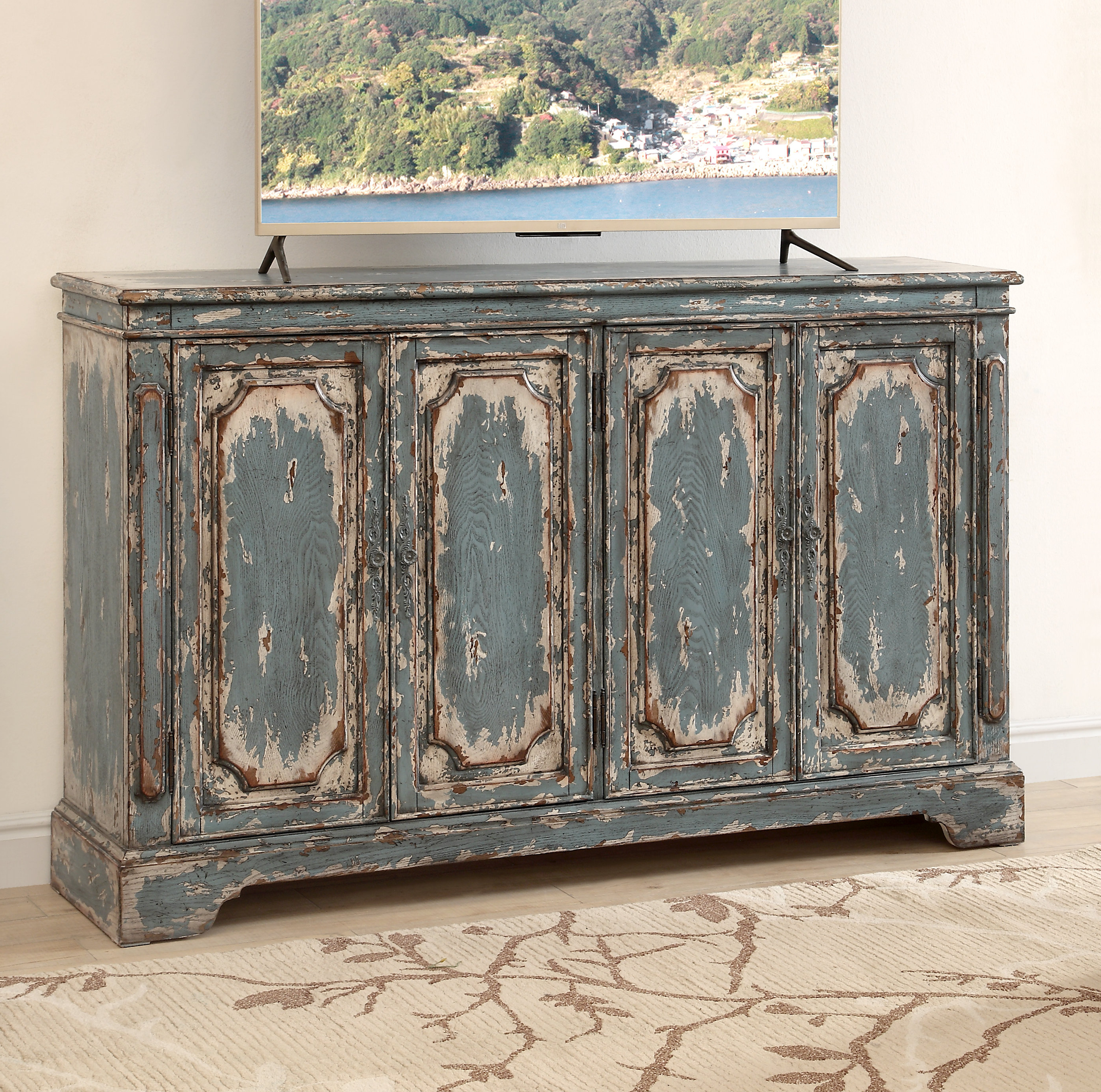 Most Current Four Door Media Credenza (View 8 of 20)