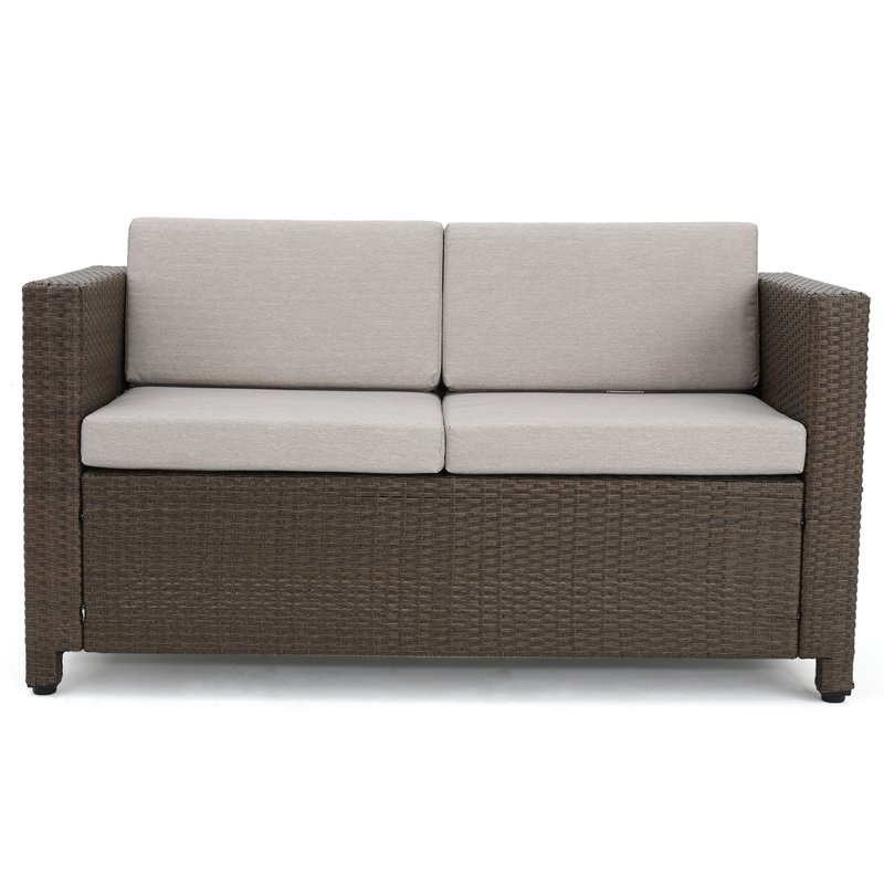 Most Current Furst Patio Sofas With Cushion Pertaining To Furst Outdoor Loveseat With Cushions (View 9 of 20)
