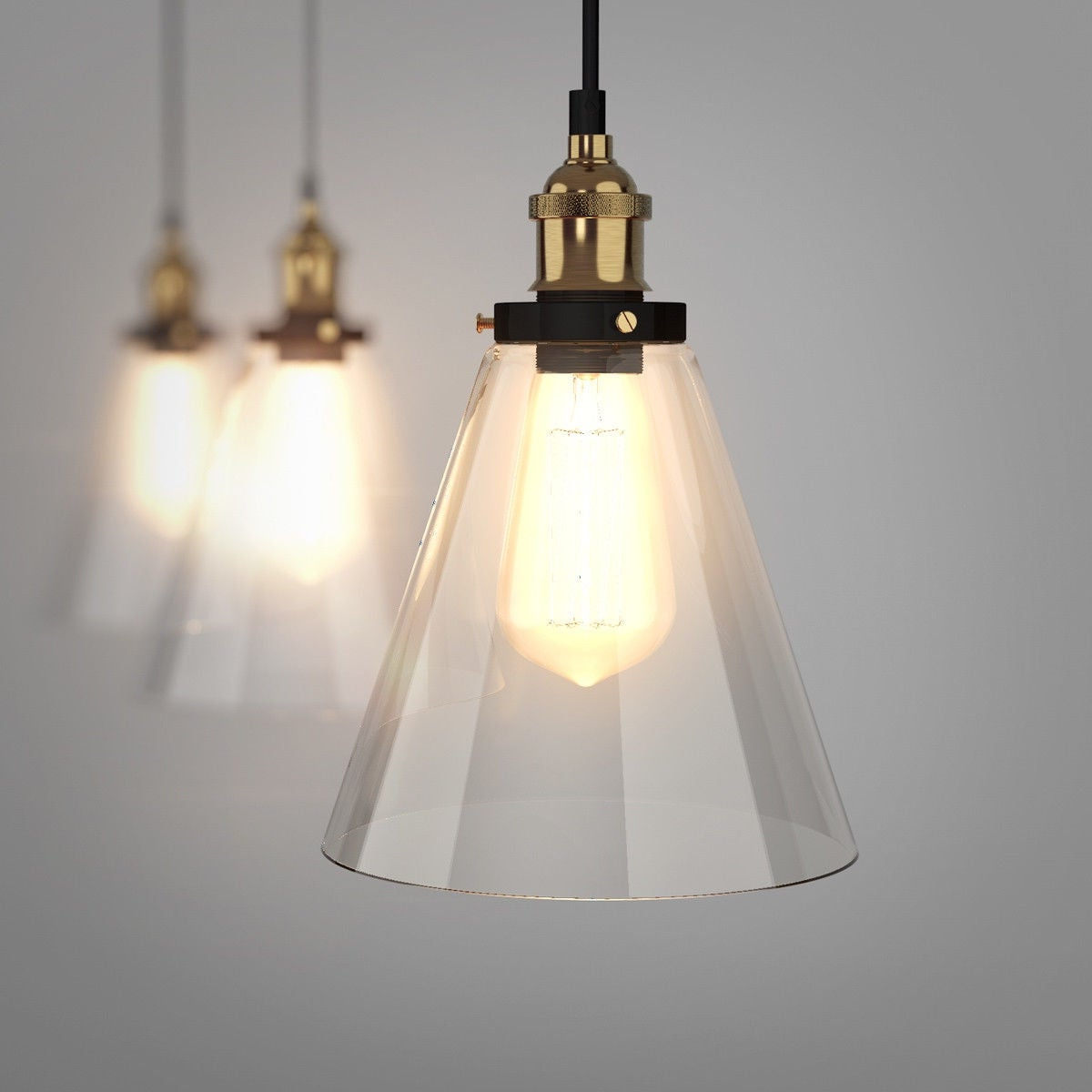Most Current Gymax Vintage Style Industrial Edison Ceiling Pendant Glass Hanging Light 1 Light Bulb – As Pic Inside Vintage Edison 1 Light Bowl Pendants (View 7 of 20)