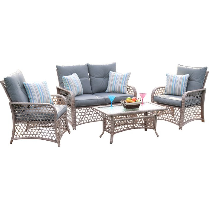 Most Current Kunz Loveseats With Cushions With Burrell 4 Piece Rattan Sofa Seating Group With Cushions (View 16 of 20)