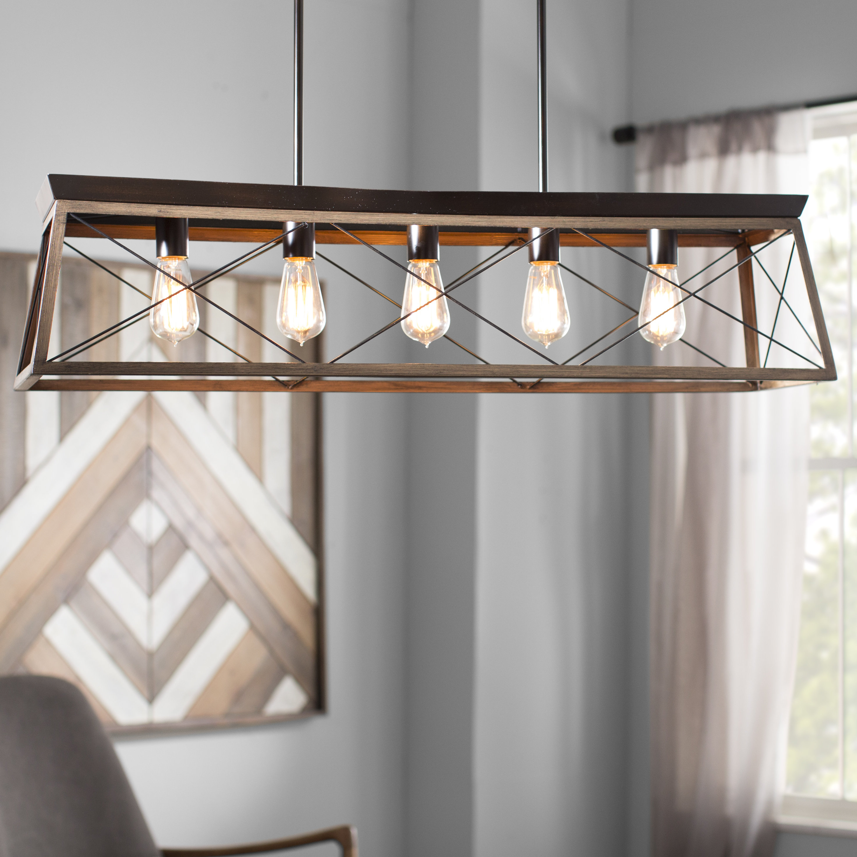 Most Current Laurel Foundry Modern Farmhouse Delon 5 Light Kitchen Island In Delon 5 Light Kitchen Island Linear Pendants (View 12 of 20)