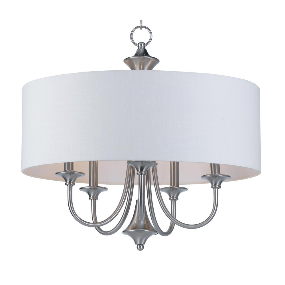 Most Current Maxim Lighting Bongo 5 Light Satin Nickel Adjustable With With Regard To Lindsey 4 Light Drum Chandeliers (View 10 of 20)