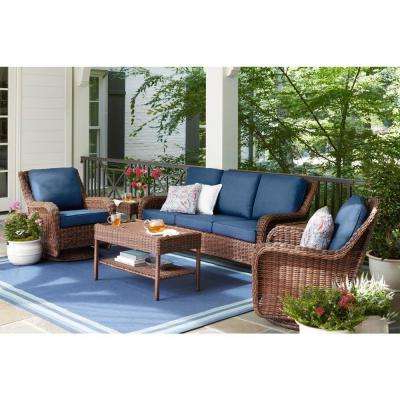 Most Current No Additional Items Included – Blue – Patio Conversation For Newbury Patio Sofas With Cushions (Gallery 15 of 20)