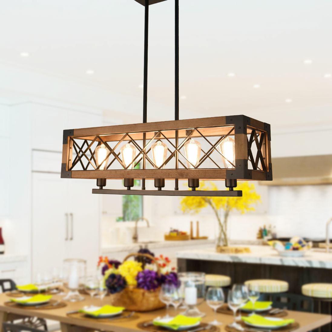 Most Current Pateros 5 Light Kitchen Island Linear Pendant With Regard To Delon 5 Light Kitchen Island Linear Pendants (Gallery 5 of 20)