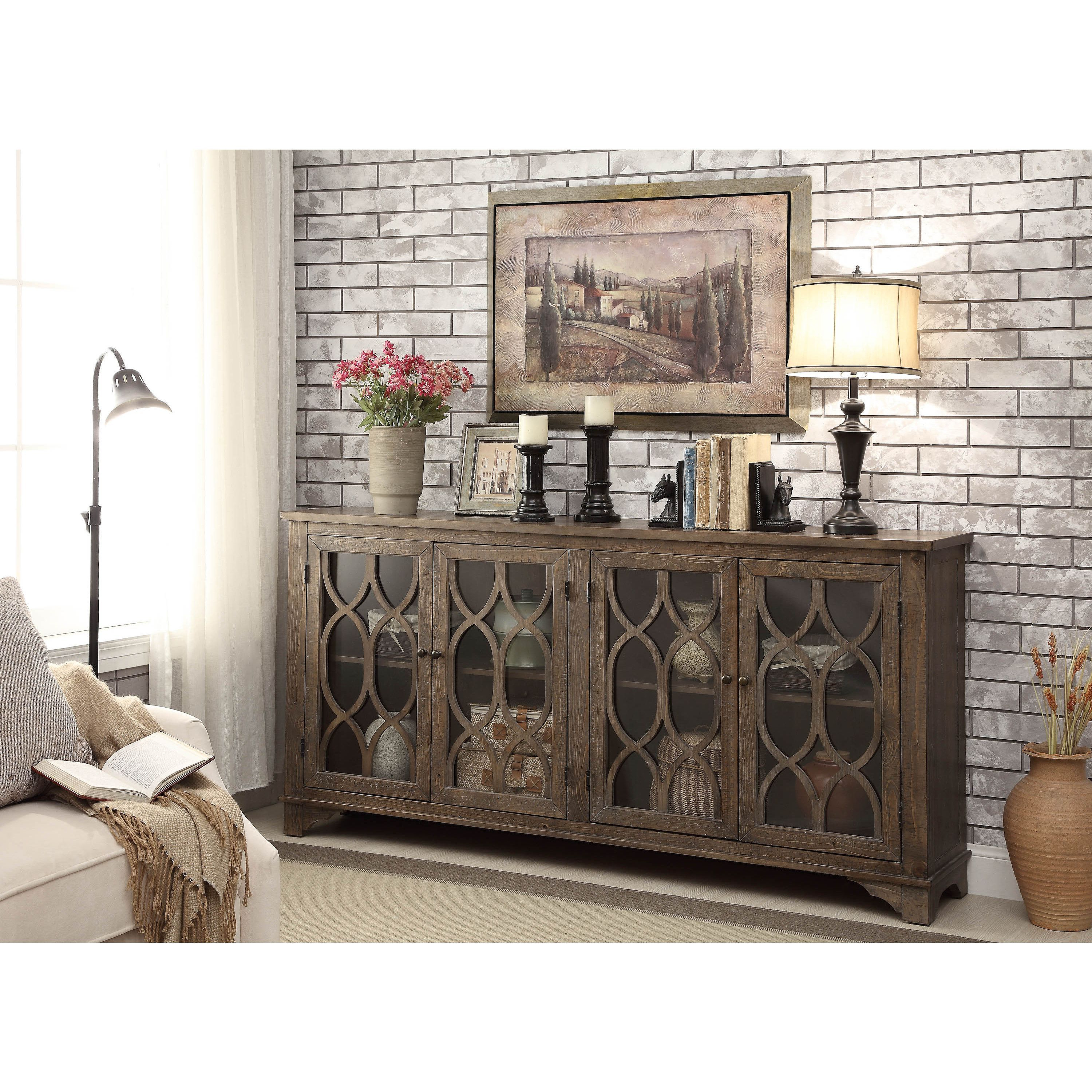 Most Current Serafino Media Credenzas Regarding Somette Distressed Brown 4 Door Media Credenza In  (View 13 of 20)