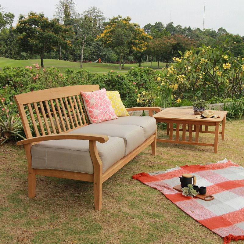 Most Current Summerton Teak Patio Sofa With Cushions Inside Summerton Teak Patio Sofas With Cushions (Gallery 7 of 20)