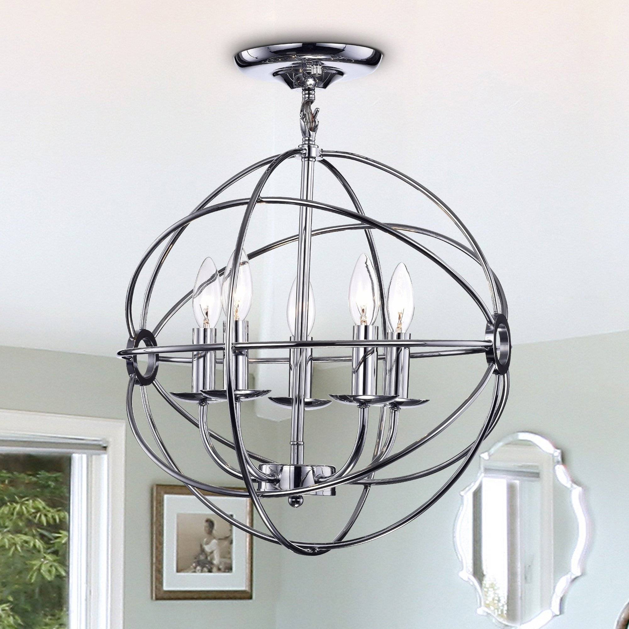 Most Current Waldron 5 Light Globe Chandeliers Regarding Karthika Chrome Metal 5 Light Chandelier In  (View 7 of 20)