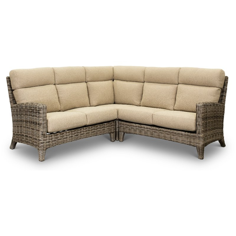 Most Current Wicker And Sand 3 Piece Patio Sectional – Cenacle Pertaining To Tess Corner Living Patio Sectionals With Cushions (View 17 of 20)